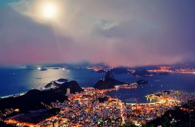 Фото ночного города Рио Де Жанейро Бразилия. (22 фото)